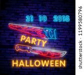 halloween neon sign collection... | Shutterstock .eps vector #1199580796