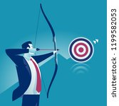 businessman aiming the target.... | Shutterstock .eps vector #1199582053