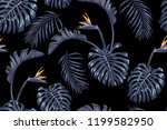 blooming strelitzia and... | Shutterstock .eps vector #1199582950