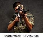 Soldier Gunman Aiming His...