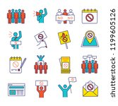 protest action color icons set. ... | Shutterstock .eps vector #1199605126