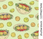 seamless pattern with falafel... | Shutterstock .eps vector #1199607646