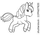 Cute Cartoon Unicorn Isolated...