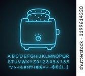 slice toaster with toast neon... | Shutterstock .eps vector #1199614330