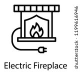 fireplace with electrical plug  ... | Shutterstock .eps vector #1199616946