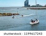 white yacht in port of... | Shutterstock . vector #1199617243