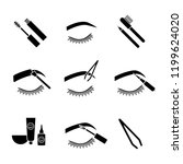 eyebrows shaping glyph icons... | Shutterstock .eps vector #1199624020
