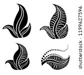 vector set of floral  leafs... | Shutterstock .eps vector #1199627596