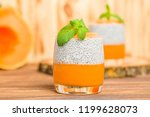 chia pudding with pumpkin puree ... | Shutterstock . vector #1199628073