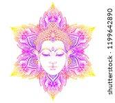 buddha face over ornate mandala ... | Shutterstock .eps vector #1199642890