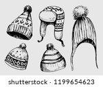 set of winter hats. hand drawn...   Shutterstock .eps vector #1199654623