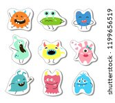 set of stickers with cartoon...   Shutterstock .eps vector #1199656519