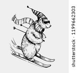 polar bear skiing. hand drawn...   Shutterstock .eps vector #1199662303