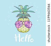 pineapple with glasses design ... | Shutterstock .eps vector #1199663566