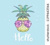 pineapple with glasses design ... | Shutterstock .eps vector #1199663566