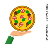 hot pizza with tomato  cheese... | Shutterstock .eps vector #1199664889