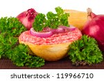 minced meat bun with onion and peppercorns - stock photo