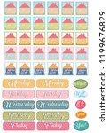 cute notebook stickers   Shutterstock .eps vector #1199676829