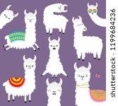 alpaca llama set. childish baby ... | Shutterstock .eps vector #1199684236