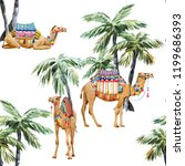 watercolor pattern  camel with... | Shutterstock . vector #1199686393