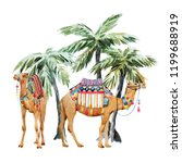 watercolor print two camels... | Shutterstock . vector #1199688919