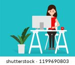 character people working or... | Shutterstock .eps vector #1199690803