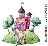 watercolor fairy tale card witn ... | Shutterstock . vector #1199690950
