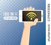 hand holding white smart phone...   Shutterstock .eps vector #1199693086