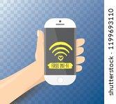 hand holding white smart phone...   Shutterstock .eps vector #1199693110