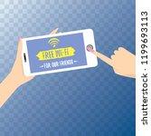 hand holding white smart phone...   Shutterstock .eps vector #1199693113