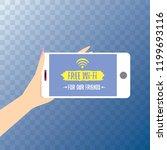 hand holding white smart phone...   Shutterstock .eps vector #1199693116