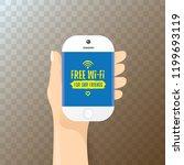 hand holding white smart phone...   Shutterstock .eps vector #1199693119