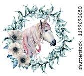 watercolor wreath with... | Shutterstock . vector #1199693650