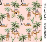 Watercolor Pattern  Camel With  ...