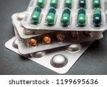 many medicines pills capsules... | Shutterstock . vector #1199695636