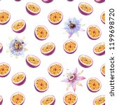 watercolor fruit pattern half... | Shutterstock . vector #1199698720