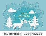 blue christmas paper cut vector.... | Shutterstock .eps vector #1199702233
