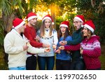 group of six best friends with... | Shutterstock . vector #1199702650