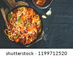 tasty appetizing spaghetti with ... | Shutterstock . vector #1199712520