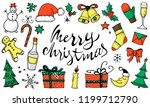 doodle christmas set  color... | Shutterstock .eps vector #1199712790