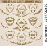 set of golden monograms with... | Shutterstock .eps vector #1199722630