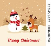 snowman with deer singing song... | Shutterstock .eps vector #1199724376