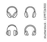 thin line headphones icons set... | Shutterstock .eps vector #1199726503