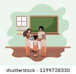 teacher black in the classroom... | Shutterstock .eps vector #1199728330