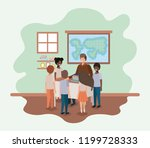 teacher in the geography class... | Shutterstock .eps vector #1199728333