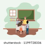 teacher in the classroom with... | Shutterstock .eps vector #1199728336