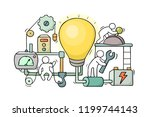 cartoon little people with lamp ... | Shutterstock .eps vector #1199744143