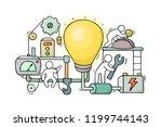 cartoon little people with lamp ... | Shutterstock .eps vector #1199744143