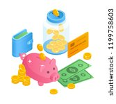 savings money concept... | Shutterstock .eps vector #1199758603