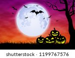 halloween background... | Shutterstock . vector #1199767576
